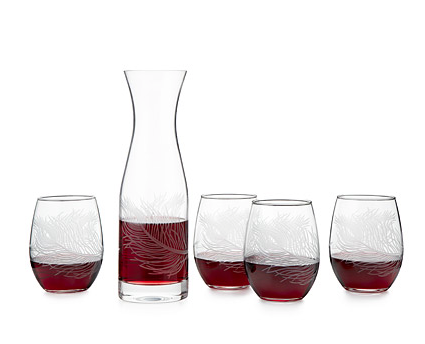 Peacock Stemless Glasses and Carafe