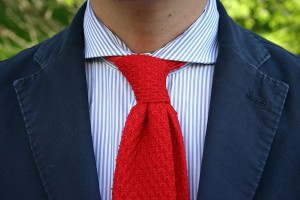 striped shirt knit tie