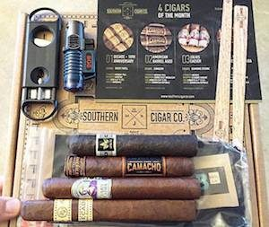 southern-cigar-co-monthly-box-with-cigars-cutter-torch-and-spills