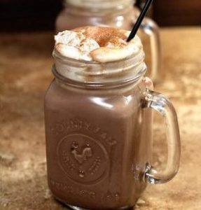 mason jars full of spiked mexican hot chocolate