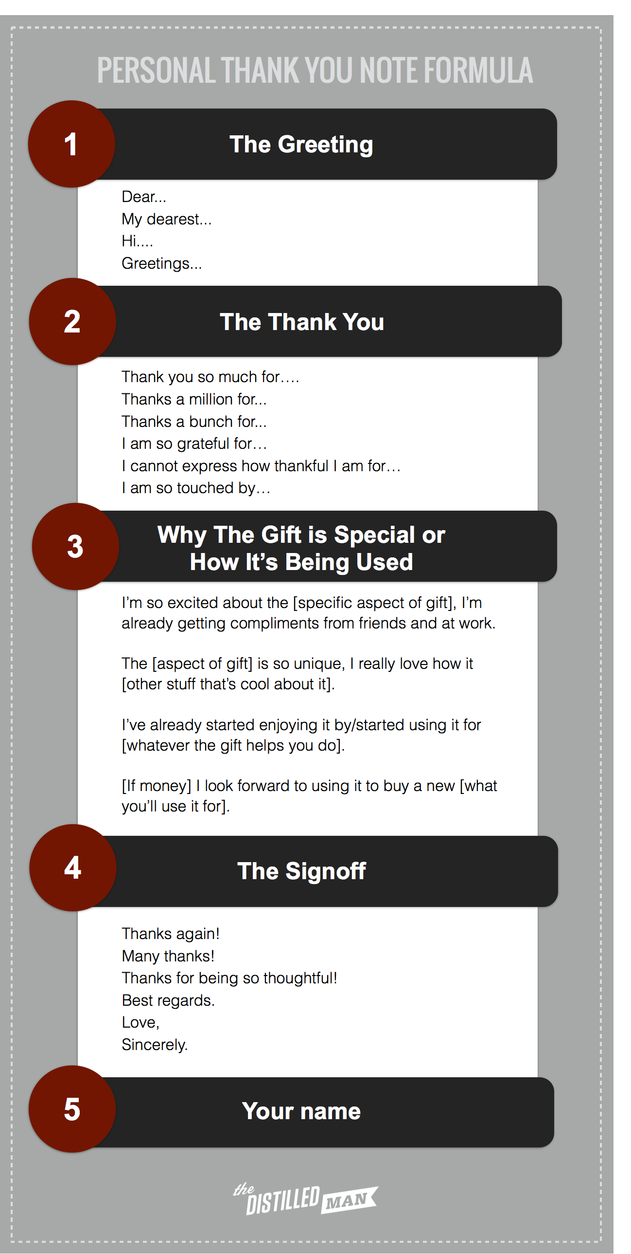 The simple 5-part thank you note formula includes: the greeting, the thank you, why the gift is special or how it's being used, the sign-off, and your name