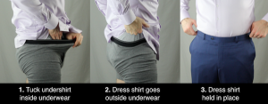 how to use the underwear tuck to tuck your shirt in