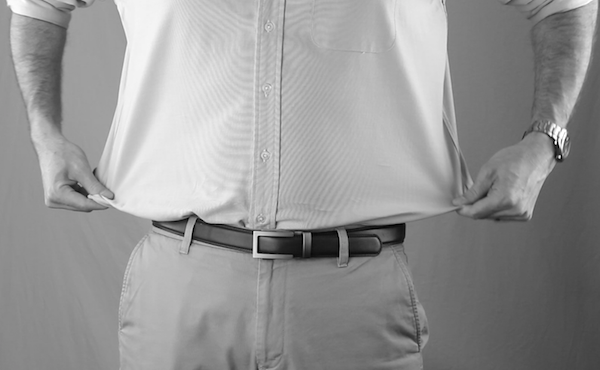 Excess fabric around waist of off-the-rack shirt