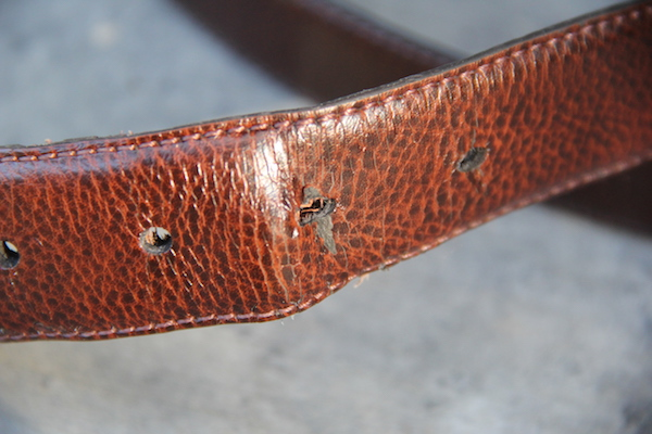 belt holes showing some wear