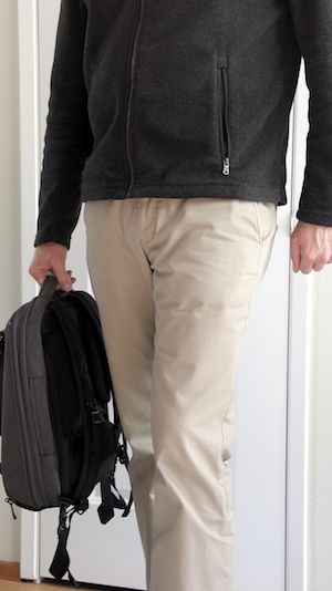 cotton chinos and zip up fleece for overnight travel