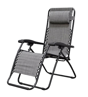 folding beach chair in gray