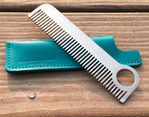 Chicago comb steel comb with leather sheath
