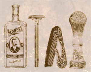 old time shaving soap, razors, and brush