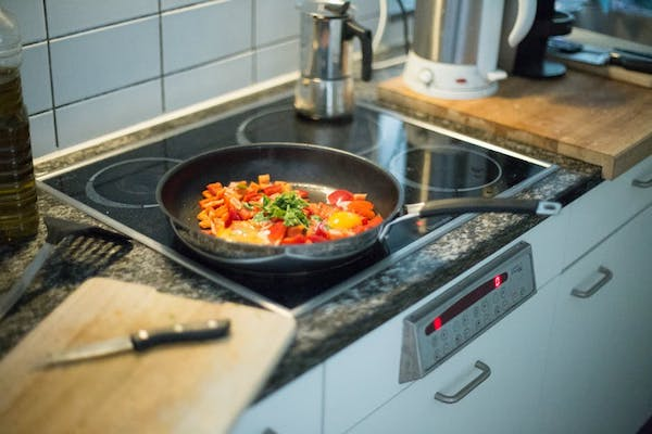 frying pan on the stovetop