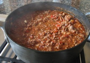 Pot of chili on the stove
