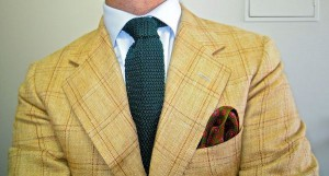 light blue shirt with knit tie